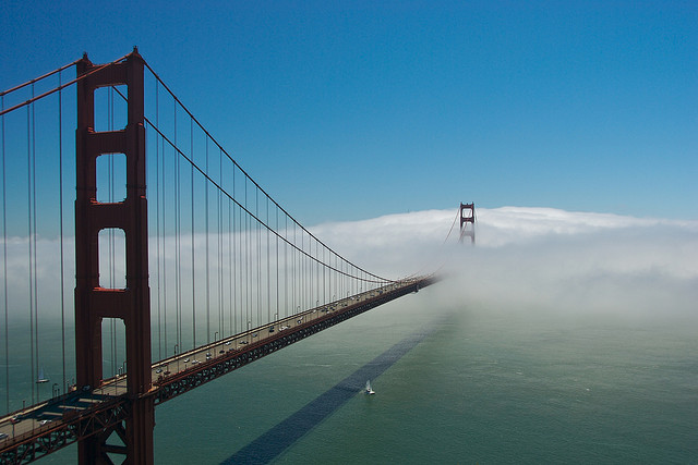 """Low clouds taking over the Golden Gate Bridge, San Francisco, California, USA"". Photo by Camille King"