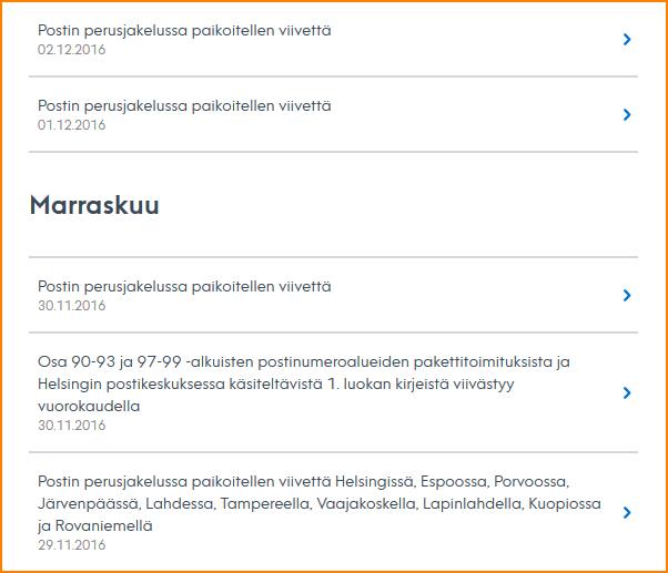 Kuvankaappaus Postin Häiriötiedotteista.